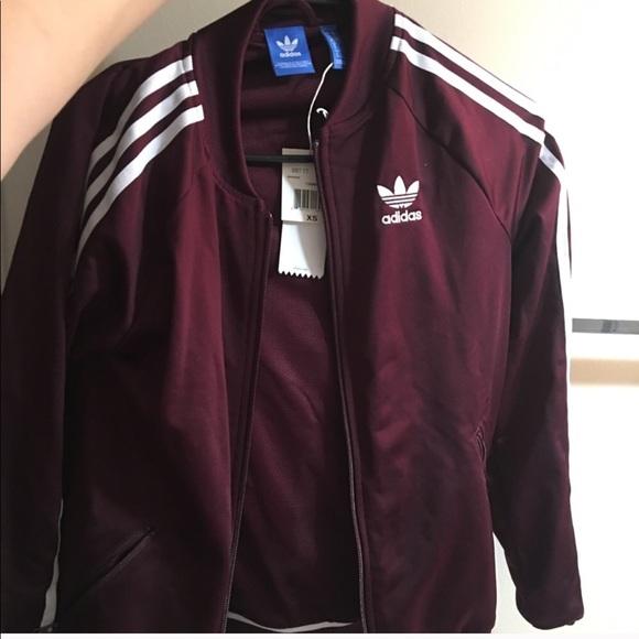 Adidas originals burgundy and white track jacket